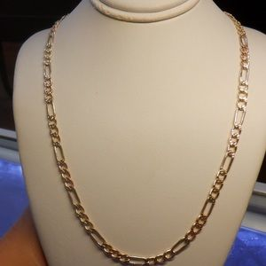 14k solid tricolor real gold diamond cut chain